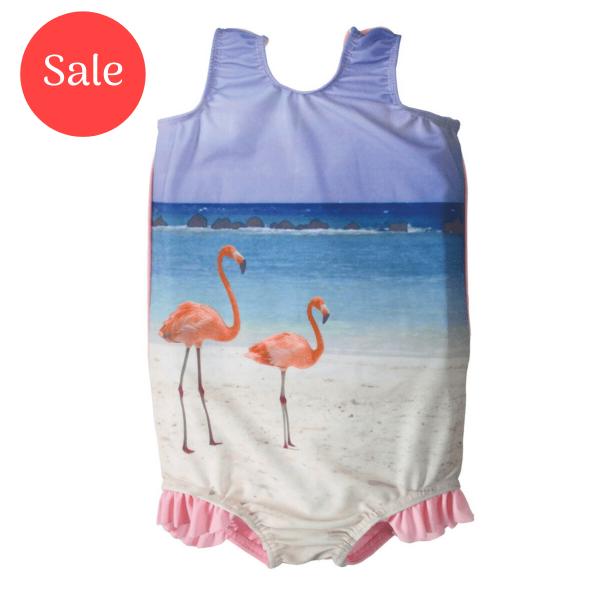 Swimming Costume Pink Funky Flamingo