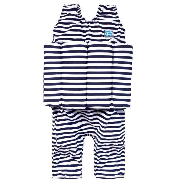 Short John Float Suit Navy & White Stripe with Zip
