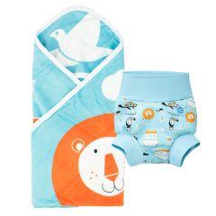 Noah's Ark Hooded Towel & Happy Nappy Bundle