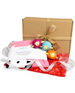 Hooded Towel Nina's Ark &  3 Pufferfish Latex Toys Gift Bundle