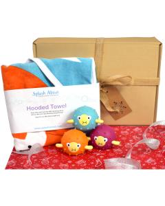 Hooded Towel Noah's Ark &  3 Pufferfish Latex Toys Gift Bundle
