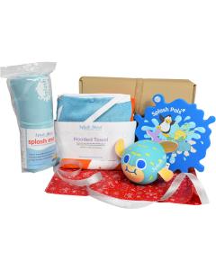 Noah's Ark Hooded Towel,  Blue Changing Mat, Pufferfish Toy & Splash Mirror Gift Bundle