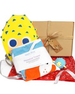 Noah's Ark Hooded Towel,  Pufferfish Float Board & Pufferfish Toy Gift Bundle