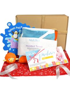 Sensory Pufferfish Toy, Splash Pals Mirror, Hooded Towel & Happy Nappy Voucher Gift Bundle