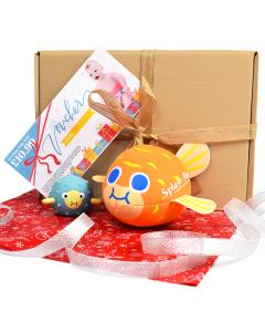 Pufferfish Neoprene Ball, Pufferfish Toy & Happy Nappy Voucher Gift Bundle