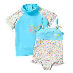 Flora Bimbi Swimming Costume and Short Sleeve Rash Top Bundle
