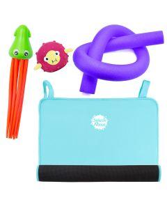 Squid Dive Toy, Pufferfish Sensory Toy, Noodle & Blue Changing Mat Mini Bundle