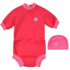 Happy Nappy Wetsuit and Swim Hat Pink Geranium Bundle