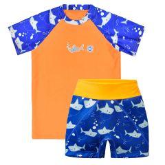 Shark Orange Splash Jammers & UV Rash Top Bundle