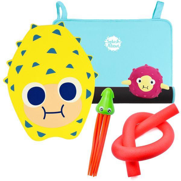 Squid Dive Toy, Pufferfish Sensory Toy, Noodle, Pufferfish Float & Blue Changing Mat Mini Bundle