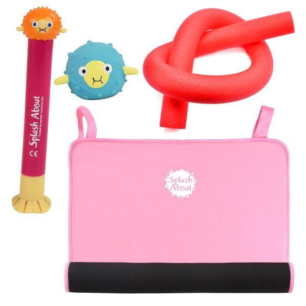 Pufferfish Dive Toy, Sensory Toy, Noodle & Pink Changing Mat Mini Bundle