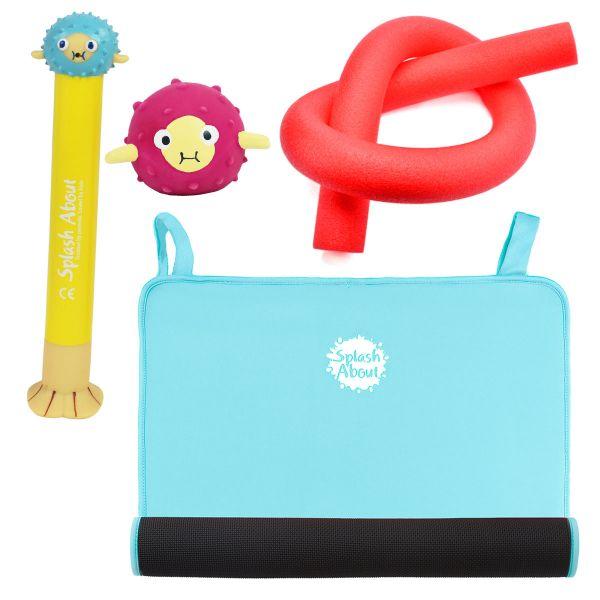 Pufferfish Dive Toy,  Sensory Pufferfish Toy, Noodle & Blue Changing Mat Mini Bundle