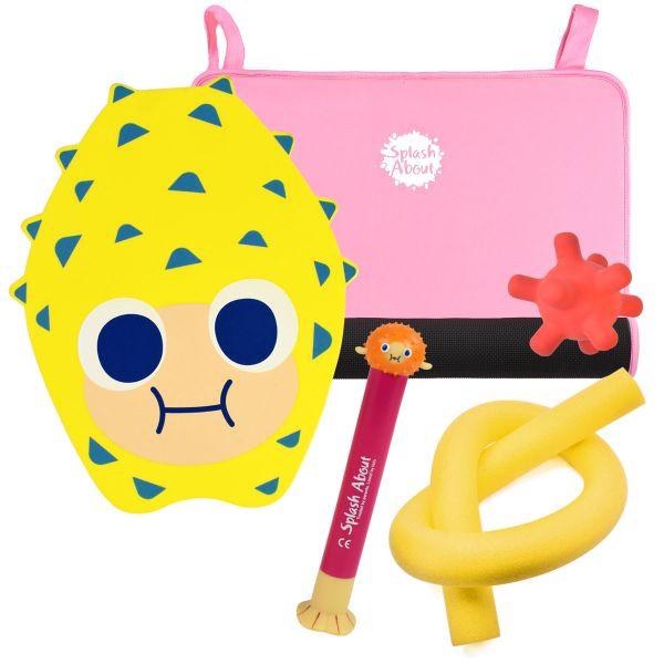 Pufferfish Dive Toy, Splash Jack, Pufferfish Float Board, Noodle & Pink Changing Mat Mini Bundle