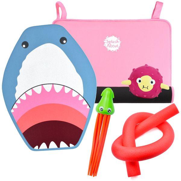 Squid Dive Toy, Sensory Toy, Shark Float Board, Noodle & Pink Changing Mat Mini Bundle