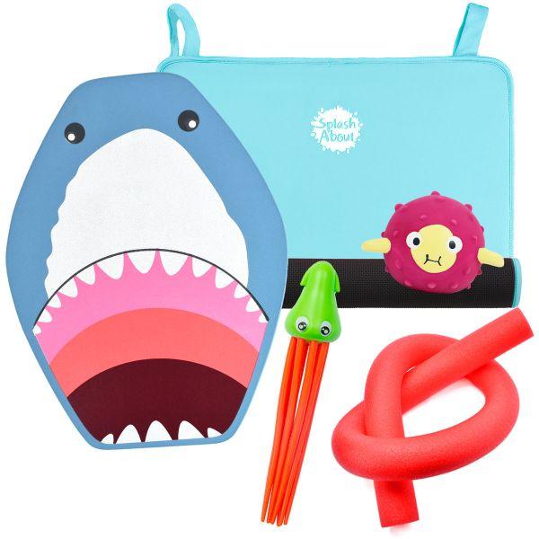 Squid Dive Toy, Pufferfish Sensory Toy, Noodle, Shark Float & Blue Changing Mat Mini Bundle