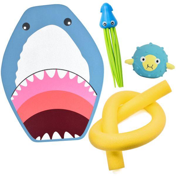 Squid Dive Toy, Pufferfish Sensory Toy, Shark Float Board & Noodle Mini Bundle