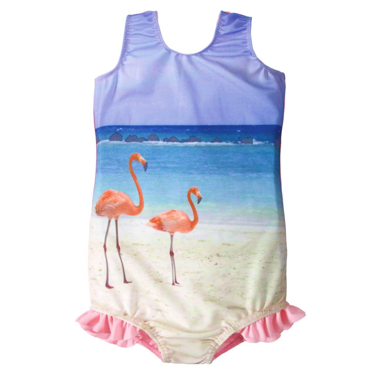 Swimming Costume Pink Funky Flamingo Girls Swimsuit