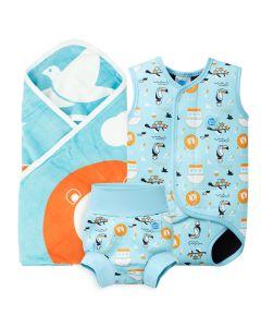 Noah's Ark Hooded Towel, Baby Wrap, Happy Nappy Bundle