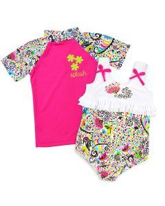 Birdy Ruffle Swimming Costume and Short Sleeve Rash Top Bundle