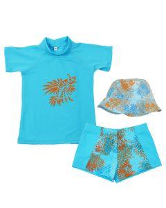 Lion Fish Rash Top, Aqua Shorts & Hat