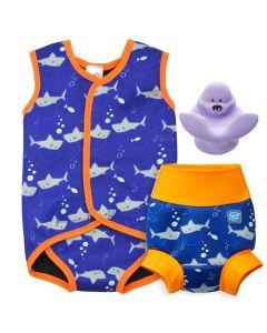 Shark Orange Baby Wrap, Happy Nappy and Splash Pal