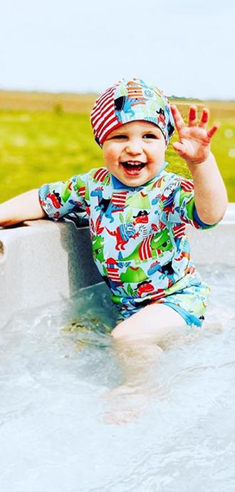 Dino Pirates Happy Nappy Wetsuit and Swim Hat
