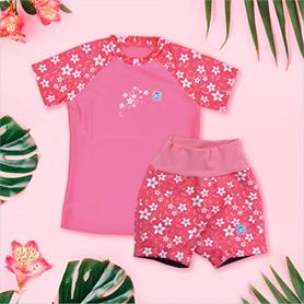 Bundle Image Pink Blossom Rash Top and matching Splash Jammers